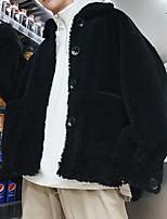 Недорогие -Жен. Повседневные Обычная Искусственное меховое пальто, Однотонный Приподнятый круглый Длинный рукав Искусственный мех Черный / Коричневый