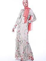 Недорогие -арабский Взрослые Жен. Косплей На каждый день Косплэй Kостюмы Арабское платье хиджаб Назначение Для вечеринок Halloween Полиэстер Вышивка Хэллоуин Карнавал Маскарад Платье