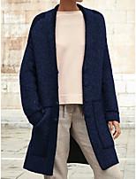 Недорогие -Жен. Повседневные Длинная Пальто, Однотонный V-образный вырез Длинный рукав Полиэстер Синий / Коричневый / Зеленый