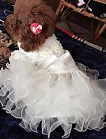 Недорогие -Собаки Платья Одежда для собак Геометрический принт Белый Полиэстер Костюм Назначение Лето Мужской Свадьба