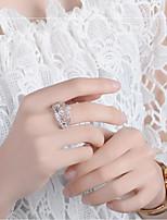 Недорогие -Жен. Кольца для пары Цирконий 1шт Серебряный Медь Стиль Роскошь Свадьба Бижутерия