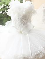 Недорогие -Собаки Инвентарь Платья Одежда для собак Однотонный Белый Полиэстер Костюм Назначение Лето Свадьба