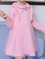 Недорогие -Дети Девочки Однотонный Платье Лиловый