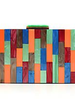 Недорогие -Жен. Цепочки Акрил / Полиэстер Вечерняя сумочка Контрастных цветов Синий