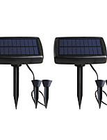 Недорогие -2шт 2 Вт газонные светильники водонепроницаемый / солнечный / творческий теплый белый 3.2 В наружное освещение / бассейн / сад в горшке атмосфера лампа / двор 2 светодиодные шарики