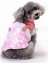Недорогие -Собаки Коты Животные Платья Одежда для собак С принтом Черный Пурпурный Желтый Полиэстер Костюм Назначение Весна Этнический Новый год