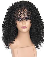 Недорогие -Парики из искусственных волос Афро Афро Квинки Стиль С чёлкой Машинное плетение Без шапочки-основы Парик Черный Искусственные волосы 14 дюймовый Жен. Регулируется Жаропрочная Классический Черный Парик