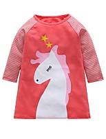 Недорогие -Дети Девочки Симпатичные Стиль Контрастных цветов Платье Розовый