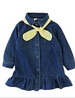 Недорогие -Дети Девочки Однотонный Платье Темно синий