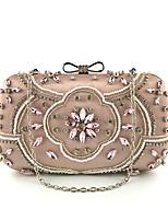 Недорогие -Жен. Кристаллы / Цветы Полиэстер Вечерняя сумочка Цветочный принт Розовый