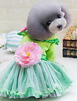 Недорогие -Собаки Коты Животные Платья Одежда для собак Цветы Зеленый Красный Розовый Полиэстер Костюм Назначение Лето С цветами