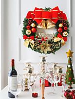 Недорогие -пвх рождественская вечеринка красный пуансеттия сосна дверь отделка стен с рождеством елочные украшения