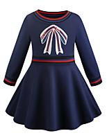 Недорогие -Дети Дети (1-4 лет) Девочки Классический Милая Однотонный Вышивка Длинный рукав До колена Платье Синий