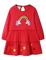 Недорогие -Дети Девочки Мультипликация Платье Красный