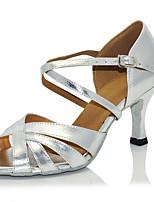 Недорогие -Жен. Танцевальная обувь Замша / Полиуретан Обувь для латины На каблуках Тонкий высокий каблук Синий / Серебряный