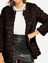Недорогие -Жен. Повседневные Классический Обычная Искусственное меховое пальто, Однотонный V-образный вырез Длинный рукав Полиэстер Белый / Коричневый