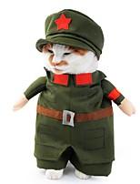 Недорогие -Собаки Костюмы Одежда для собак Звезды Полиция / армия Зеленый Полиэстер Костюм Назначение Зима Хэллоуин