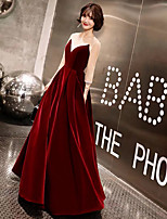 cheap -A-Line Jewel Neck Floor Length Satin / Tulle / Velvet Vintage Inspired Prom Dress with Beading by LAN TING Express