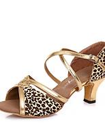 Недорогие -Жен. Танцевальная обувь Кожа Обувь для латины На каблуках Тонкий высокий каблук Золотой / Серебряный