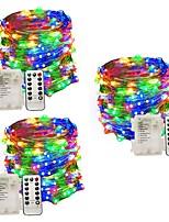 Недорогие -12м Гирлянды 100 светодиоды 1 пульт дистанционного управления Keys Тёплый белый / Естественный белый / Разные цвета Водонепроницаемый / Для вечеринок / Новогоднее украшение для свадьбы Аккумуляторы AA