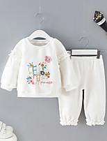 Недорогие -малыш Девочки Уличный стиль Цветочный принт Длинный рукав Обычный Набор одежды Белый