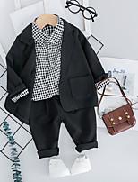 Недорогие -малыш Мальчики Винтаж / Классический Контрастных цветов / Шахматка Длинный рукав Обычный Обычная Набор одежды Черный
