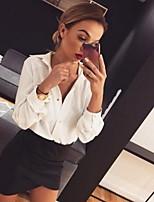 Недорогие -Жен. Рубашка Однотонный / Леопард Белый