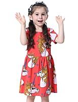 Недорогие -Дети Девочки Симпатичные Стиль Геометрический принт Платье Красный
