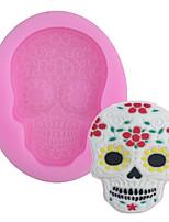 Недорогие -1 шт. Новый скелет хэллоуин маски украшены жидкие силиконовые формы двойной сахар торт плесень