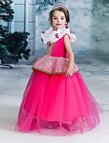 Недорогие -Дети Девочки Активный Милая Однотонный Без рукавов Средней длины Платье Пурпурный