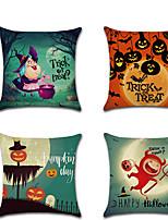 Недорогие -4.0 штук Лён Наволочка, Особый дизайн Мультипликация Традиционный Хэллоуин Бросить подушку