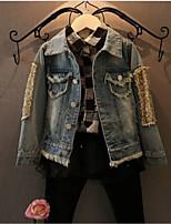 Недорогие -Дети Девочки Классический Однотонный Куртка / пальто Синий