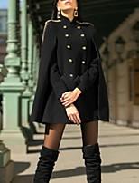 Недорогие -Жен. Повседневные Обычная Пальто, Однотонный Воротник-стойка Рукав до локтя Полиэстер Черный