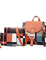cheap -Women's PU Leather Bag Set Bag Sets Lattice 4 Pieces Purse Set Black / Red / Brown / Fall & Winter