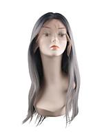 Недорогие -Синтетические кружевные передние парики Естественный прямой Стиль Средняя часть Лента спереди Парик Искусственные волосы 28 дюймовый Жен. обожаемый Лучшее качество Горячая распродажа Черный Парик