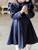 Недорогие -Дети Девочки Однотонный Длинный рукав До колена Платье Розовый