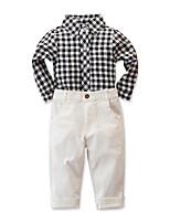 Недорогие -Дети Мальчики Активный Классический Повседневные Черное и белое Гусиная лапка Длинный рукав Короткий Хлопок Набор одежды Белый
