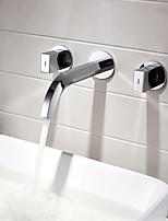 Недорогие -Смеситель для раковины для ванной комнаты квадратная двойная ручка скрытая раковина смеситель для воды
