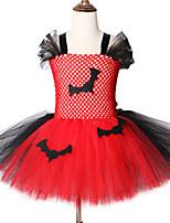 Недорогие -2-12лет летучая мышь дети хэллоуин костюмы для девочек карнавал ну вечеринку платья из тюля до колен