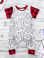 Недорогие -малыш Девочки Классический С принтом / Рождество Короткие рукава 1 предмет Красный