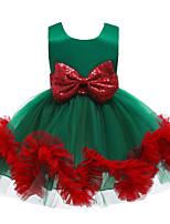 Недорогие -Дети Дети (1-4 лет) Девочки Активный Милая Цветочный принт Пэчворк Без рукавов До колена Платье Красный