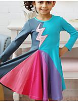 Недорогие -Дети (1-4 лет) Девочки Радужный Платье Светло-синий