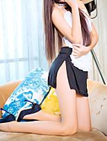 Недорогие -Жен. Открытая спина / Бант / С разрезами Костюм Ночное белье Контрастных цветов Черный Один размер