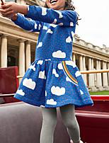 Недорогие -Дети Девочки Геометрический принт Платье Синий
