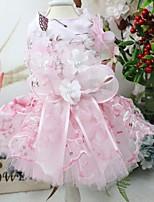 Недорогие -Собаки Инвентарь Платья Одежда для собак Цветы Розовый Полиэстер Костюм Назначение Лето Свадьба