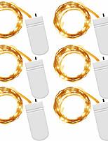 Недорогие -1m Гирлянды 10 светодиоды SMD 0603 1 монтажный кронштейн Тёплый белый / Холодный белый / Красный Водонепроницаемый / Для вечеринок / Декоративная Аккумуляторы 1шт