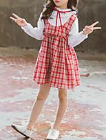 Недорогие -Дети Дети (1-4 лет) Девочки Милая Симпатичные Стиль В клетку Бант Оборки Рюши Длинный рукав Выше колена Платье Красный