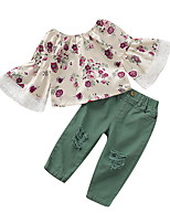 Недорогие -Дети (1-4 лет) Девочки Активный Цветочный принт Длинный рукав Набор одежды Бежевый