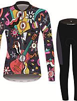 Недорогие -21Grams Цветочные ботанический Жен. Длинный рукав Велокофты и лосины - Черный / красный Велоспорт Наборы одежды Сохраняет тепло Дышащий Быстровысыхающий Виды спорта Зима Терилен Полиэфирная тафта