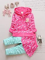 Недорогие -малыш Девочки Уличный стиль Цветочный принт Длинный рукав Обычный Набор одежды Розовый